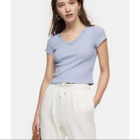 Topshop Light Blue Ribbed Crop Lace Trim Top